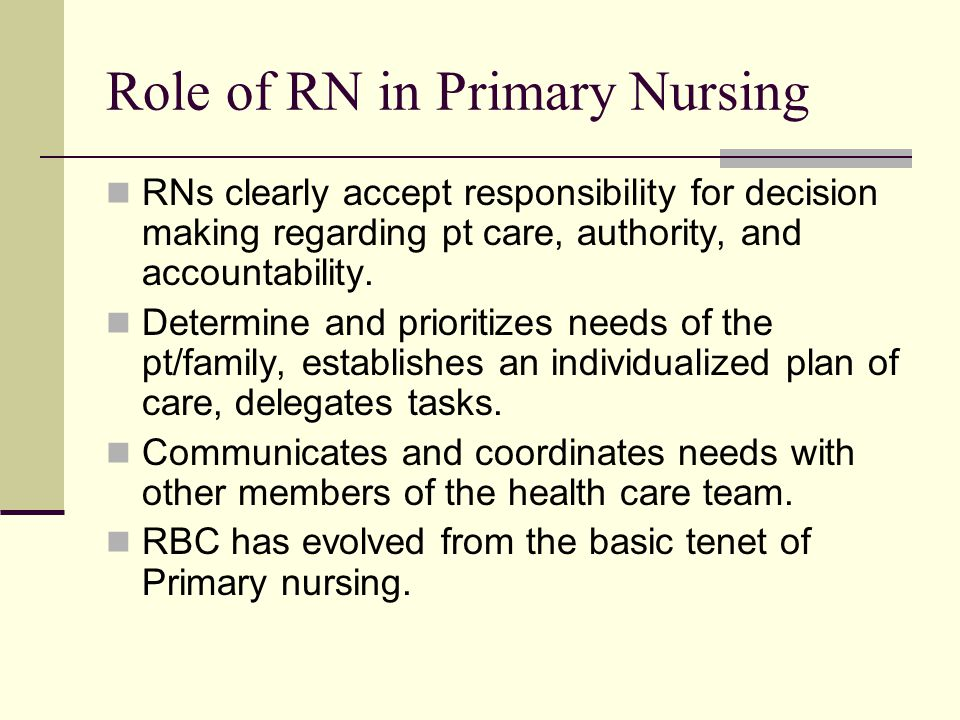 Role of RN in Primary Nursing