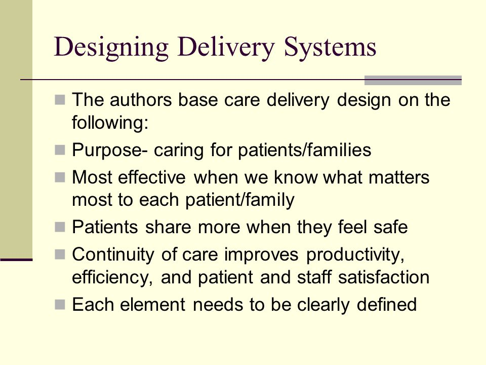 Designing Delivery Systems