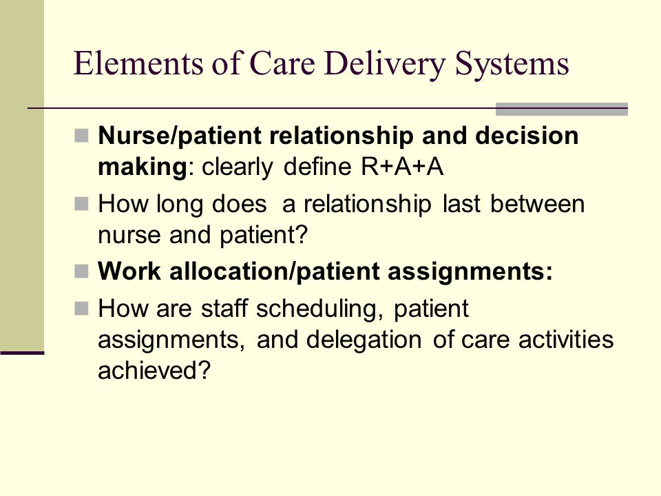 Elements of Care Delivery Systems