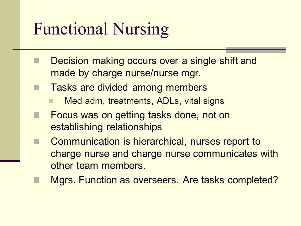 Functional Nursing Decision making occurs over a single shift and made by charge nurse/nurse mgr. Tasks are divided among members.