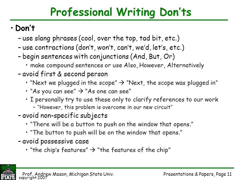 Professional Writing Don'ts
