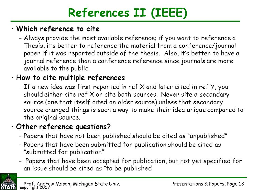 References II (IEEE) Which reference to cite