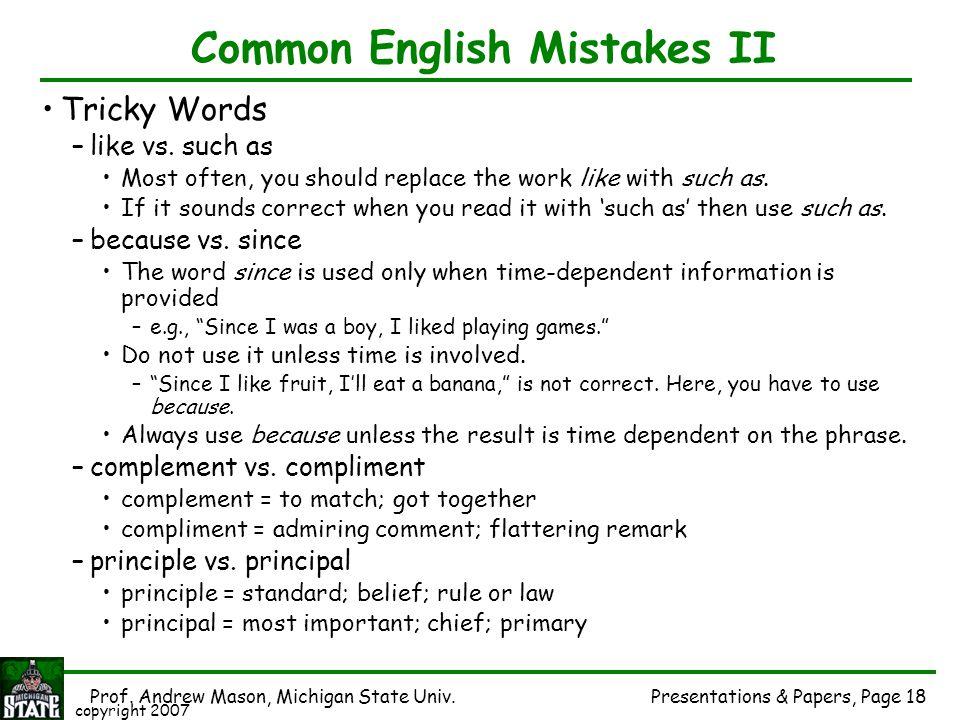 Common English Mistakes II