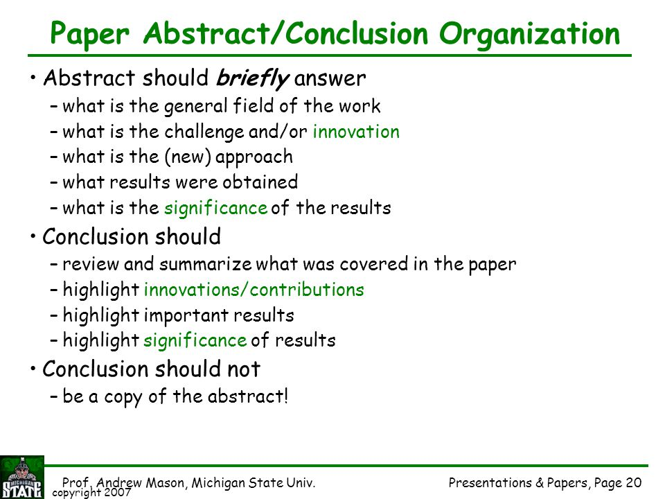 Paper Abstract/Conclusion Organization