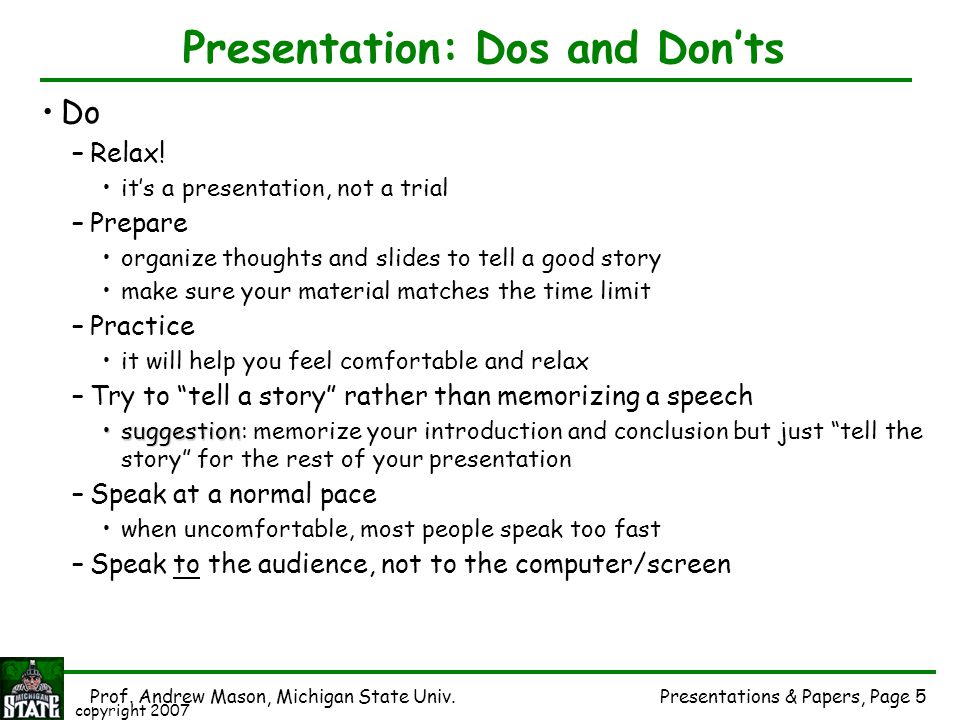 Presentation: Dos and Don'ts