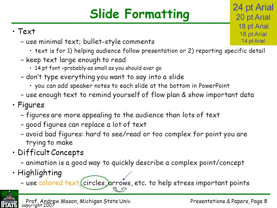 Slide Formatting 24 pt Arial 20 pt Arial Text Figures