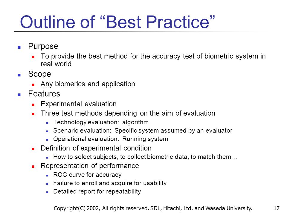 Outline of Best Practice