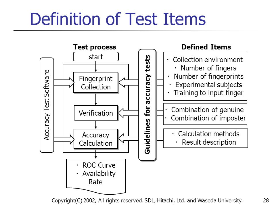 Definition of Test Items