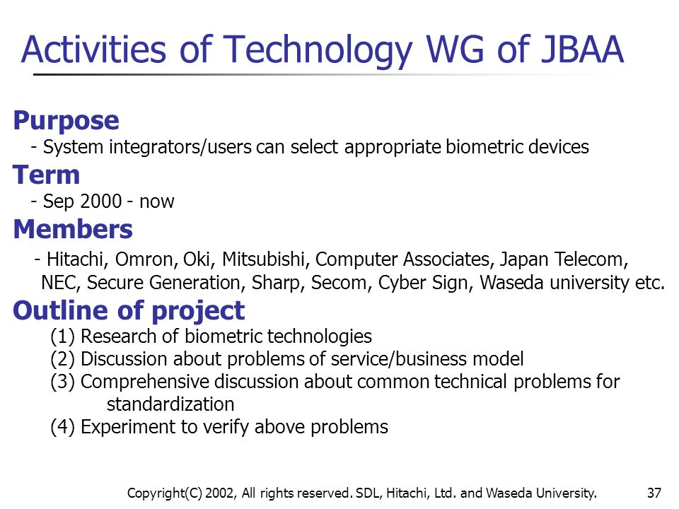 Activities of Technology WG of JBAA