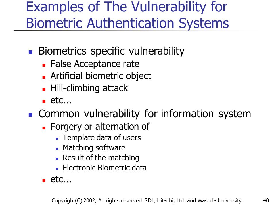 Examples of The Vulnerability for Biometric Authentication Systems