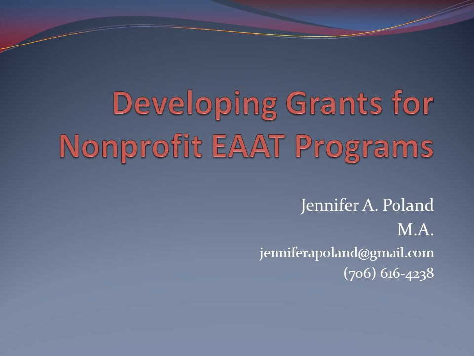 Developing Grants for Nonprofit EAAT Programs