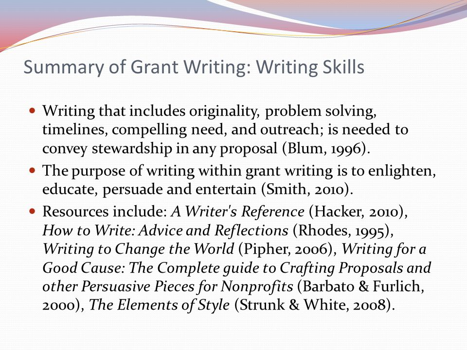 grant writing programs Available webinars winning proposals - understanding the basics of federal and foundation grants: examines basics of federal and foundation grants, including the trends in awarded grants, highlighting the importance of and providing strategies to get to know funders, and key elements of project planning view it here.