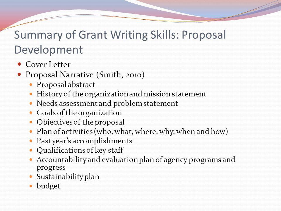 Summary of Grant Writing Skills: Proposal Development