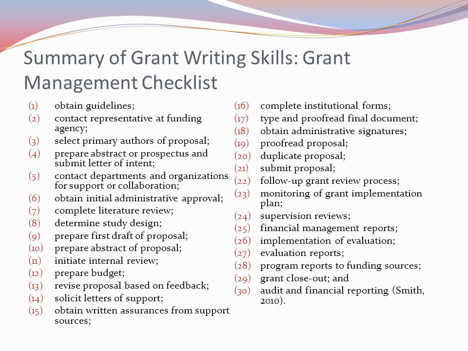 Summary of Grant Writing Skills: Grant Management Checklist