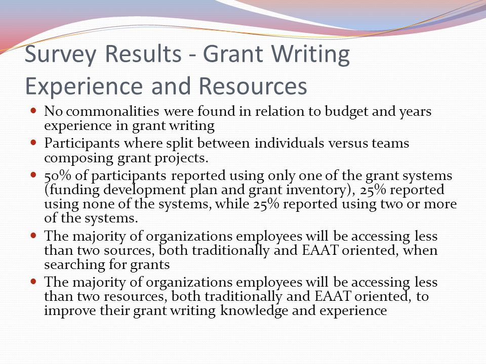 Survey Results - Grant Writing Experience and Resources