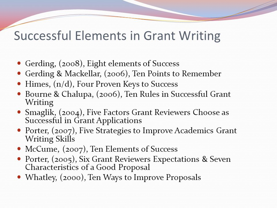 Successful Elements in Grant Writing