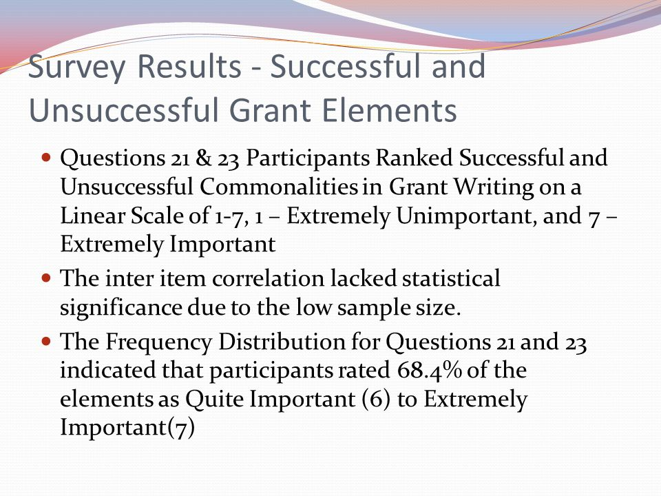 Survey Results - Successful and Unsuccessful Grant Elements