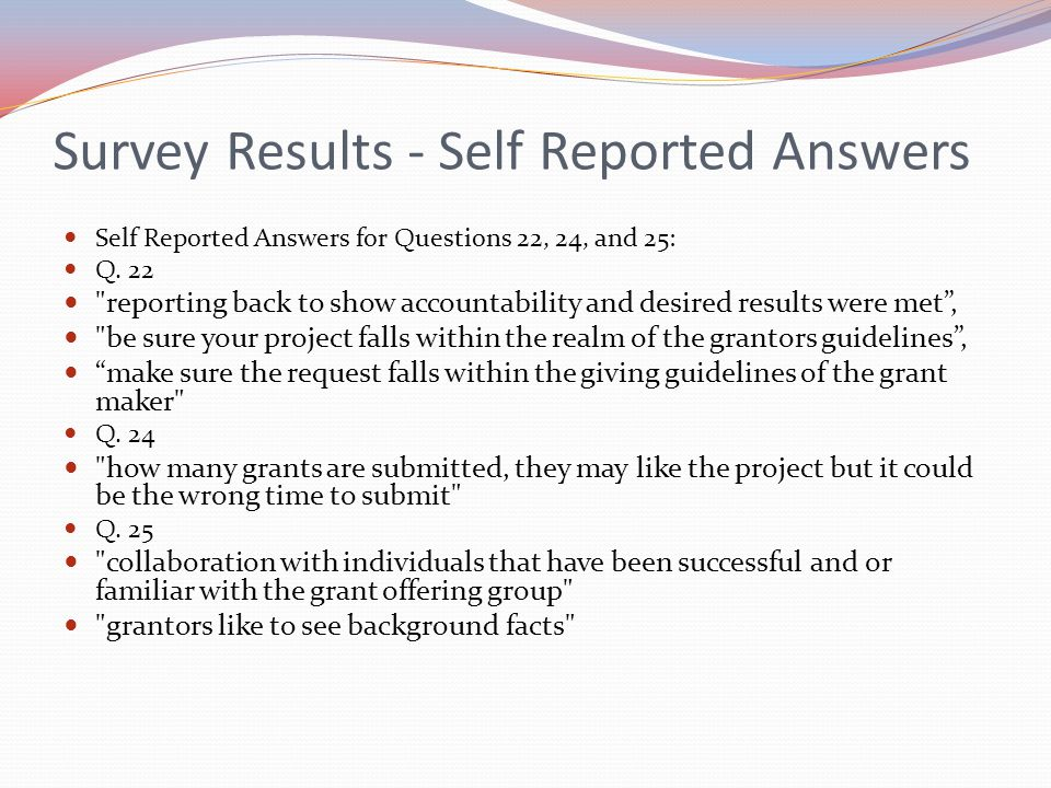 Survey Results - Self Reported Answers