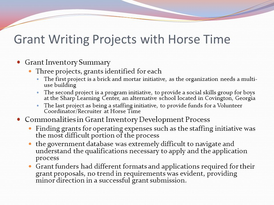 Grant Writing Projects with Horse Time