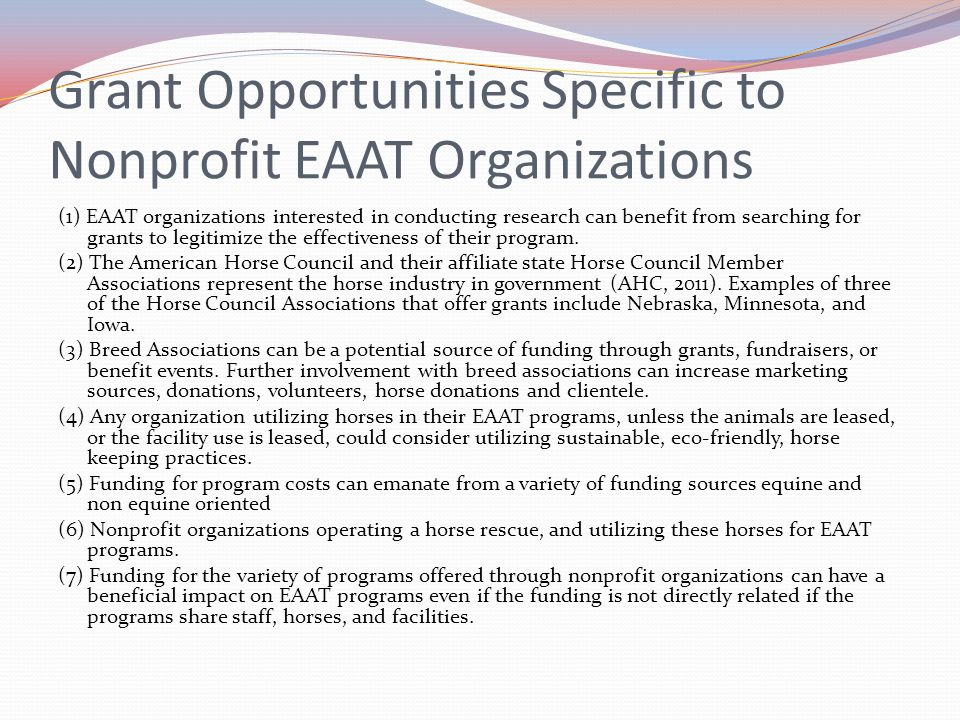 Grant Opportunities Specific to Nonprofit EAAT Organizations