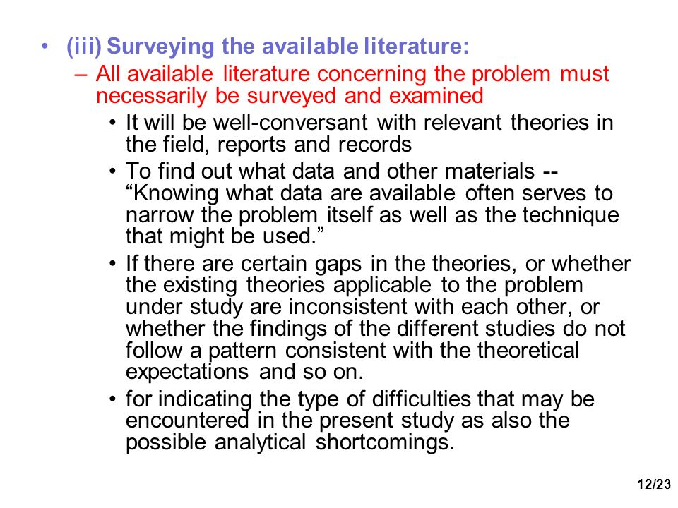 (iii) Surveying the available literature: