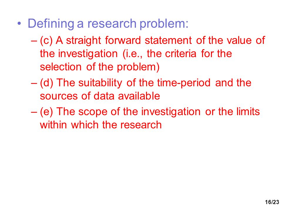 Defining a research problem:
