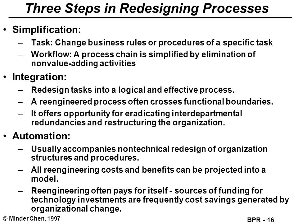 Three Steps in Redesigning Processes