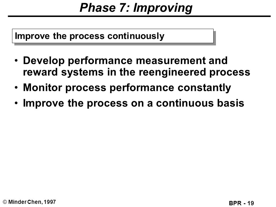Phase 7: Improving Improve the process continuously. Develop performance measurement and reward systems in the reengineered process.