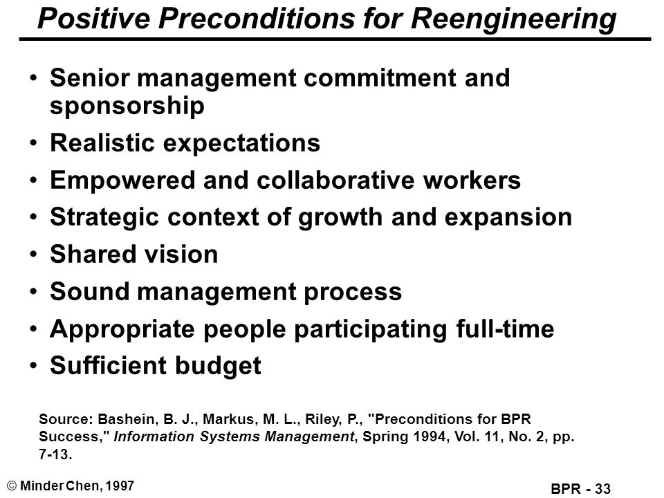 Positive Preconditions for Reengineering