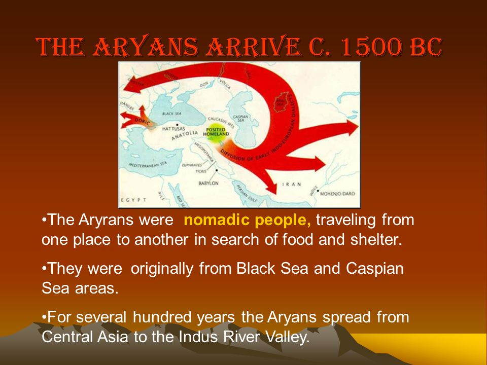 The Aryans Arrive c. 1500 BC The Aryrans were nomadic people, traveling from one place to another in search of food and shelter.