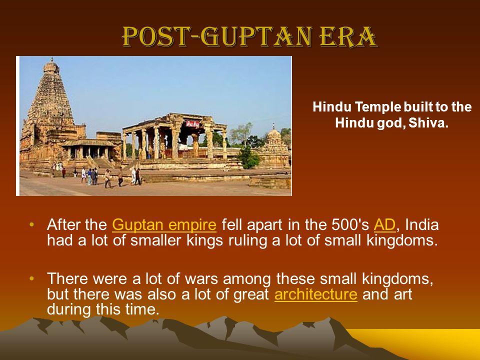 Hindu Temple built to the Hindu god, Shiva.