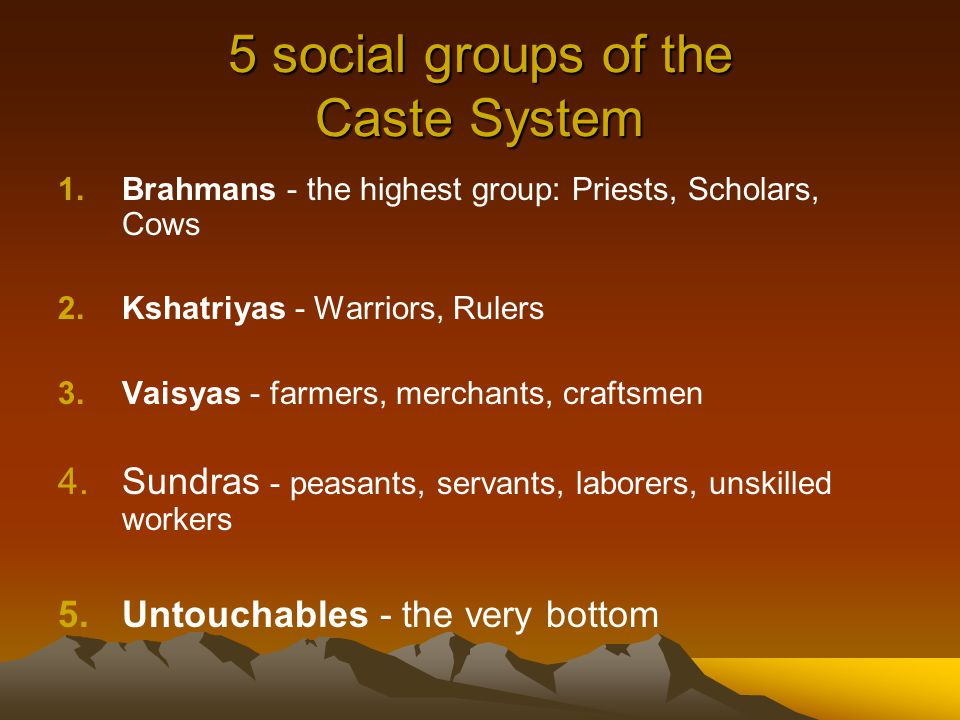 5 social groups of the Caste System