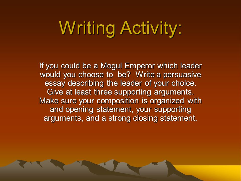 Writing Activity: