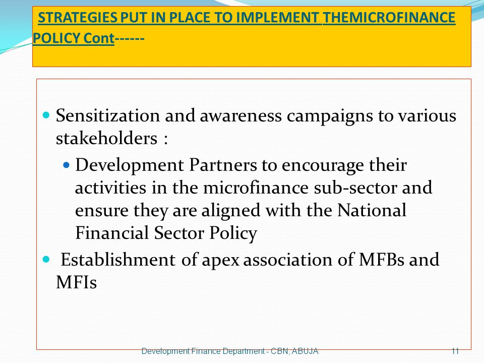 STRATEGIES PUT IN PLACE TO IMPLEMENT THEMICROFINANCE POLICY Cont------