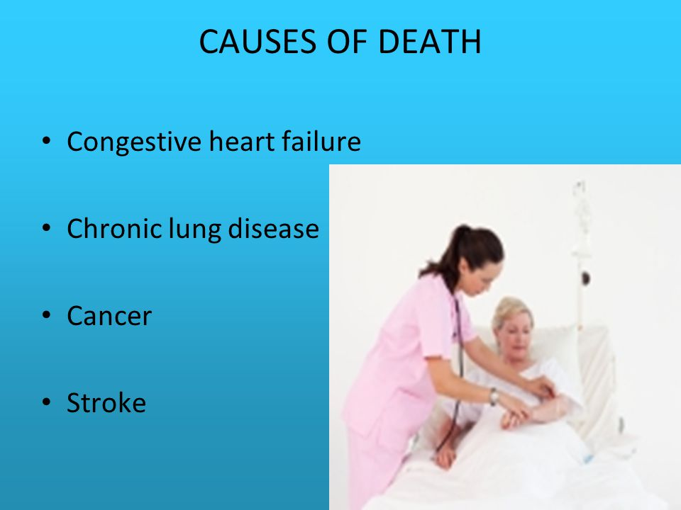 CAUSES OF DEATH Congestive heart failure Chronic lung disease Cancer