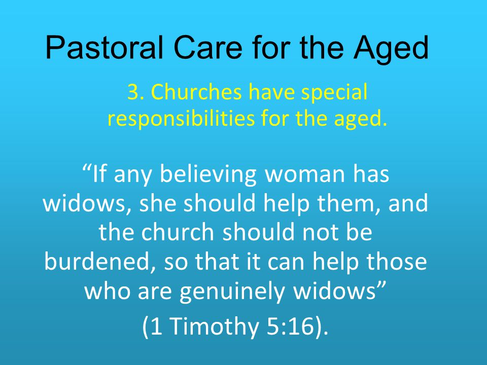 Pastoral Care for the Aged
