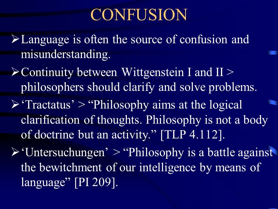 CONFUSION Language is often the source of confusion and misunderstanding.