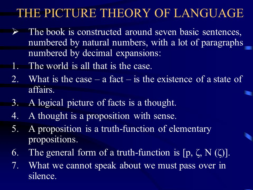 THE PICTURE THEORY OF LANGUAGE
