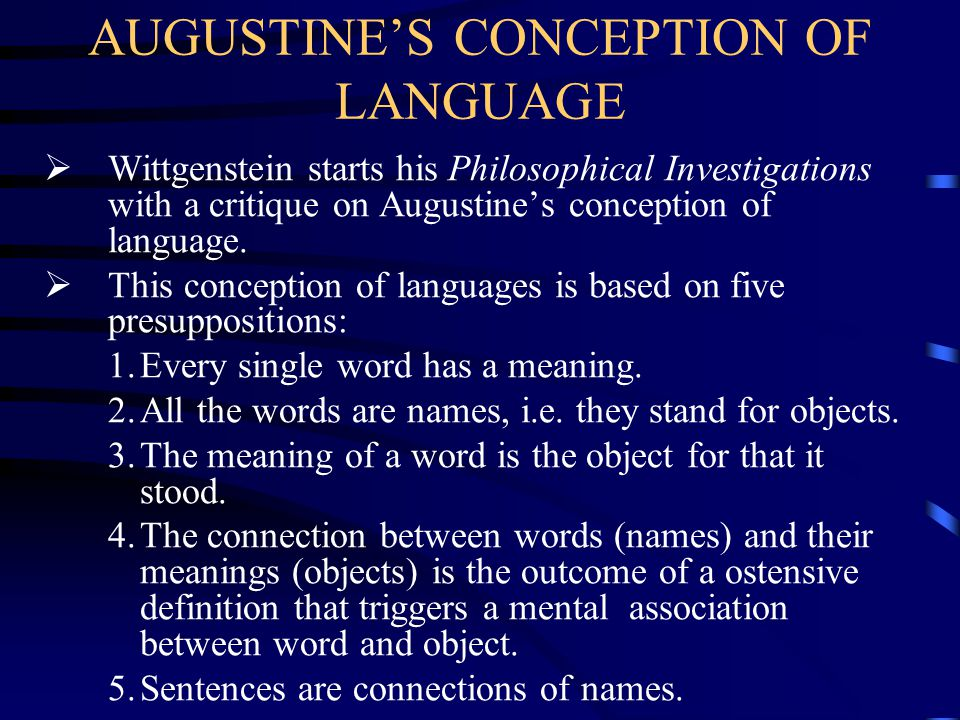 AUGUSTINE'S CONCEPTION OF LANGUAGE