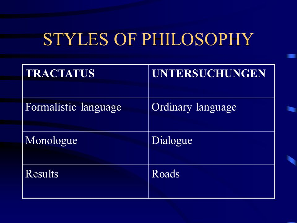 STYLES OF PHILOSOPHY TRACTATUS UNTERSUCHUNGEN Formalistic language