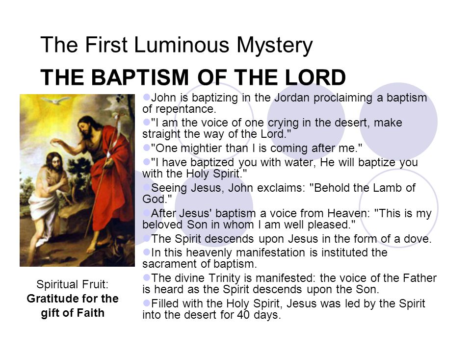 The First Luminous Mystery THE BAPTISM OF THE LORD