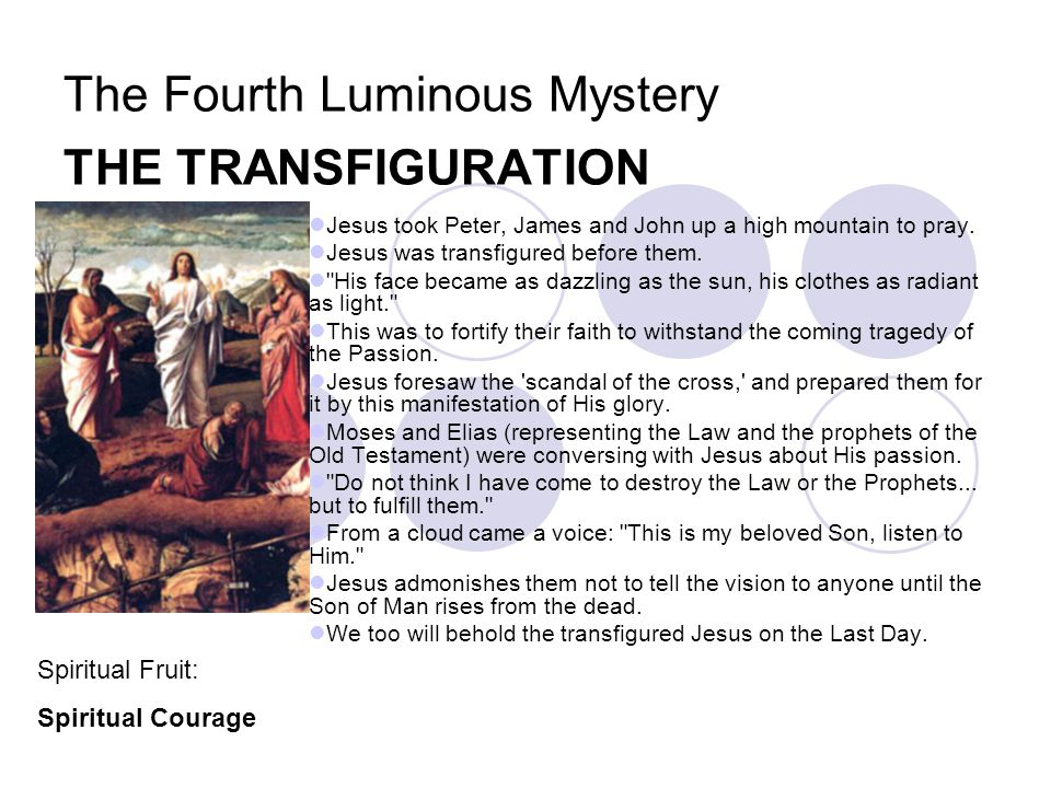 The Fourth Luminous Mystery THE TRANSFIGURATION