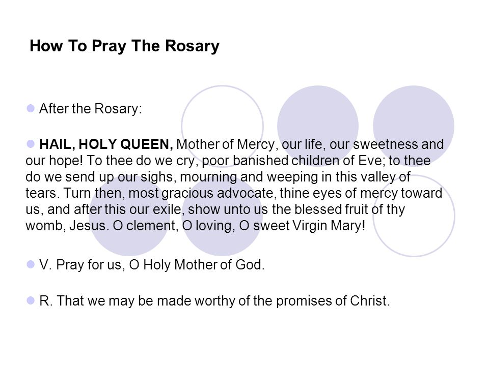 How To Pray The Rosary After the Rosary: