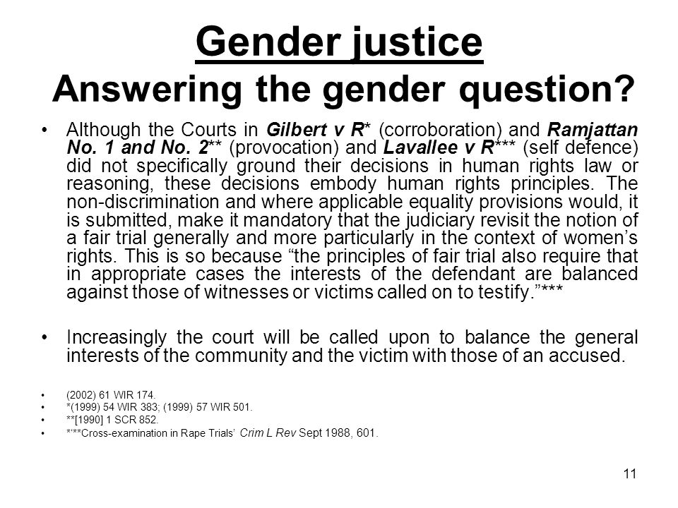Gender justice Answering the gender question