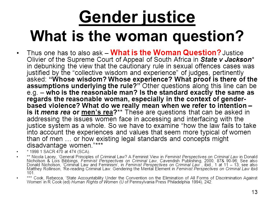 Gender justice What is the woman question