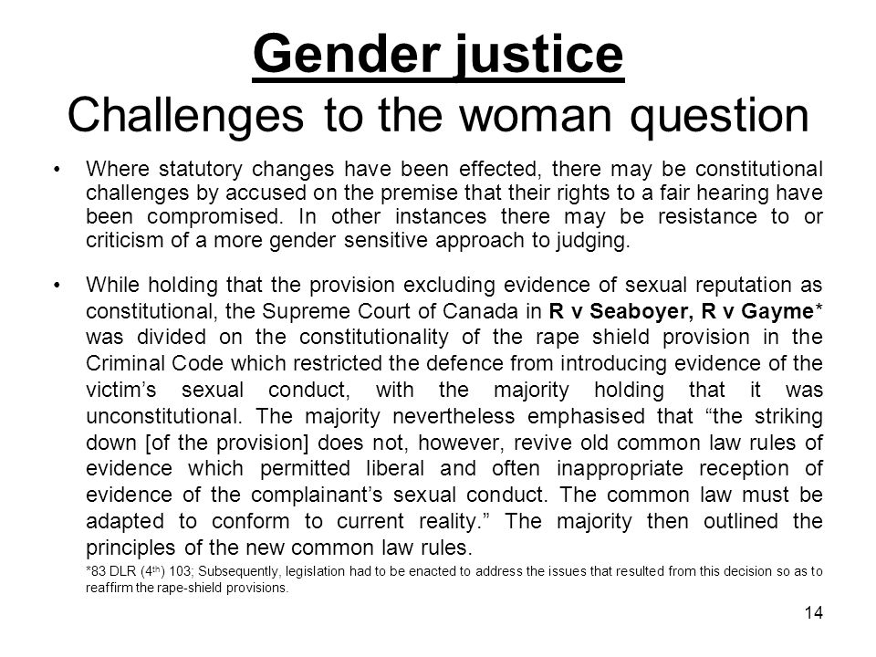 Gender justice Challenges to the woman question
