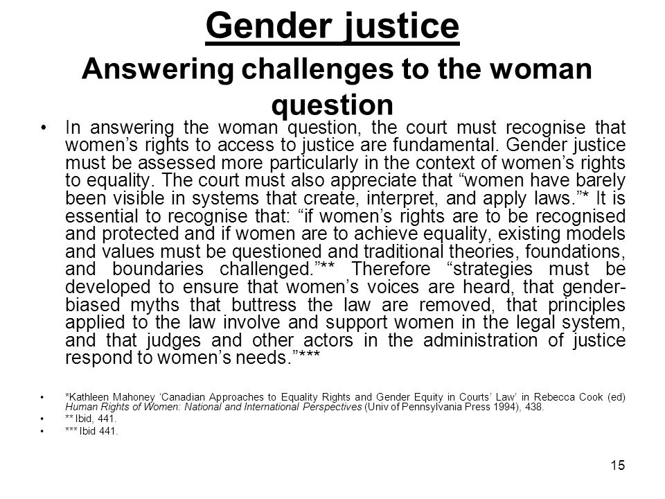 Gender justice Answering challenges to the woman question