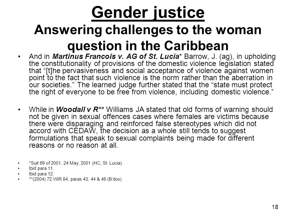 Gender justice Answering challenges to the woman question in the Caribbean