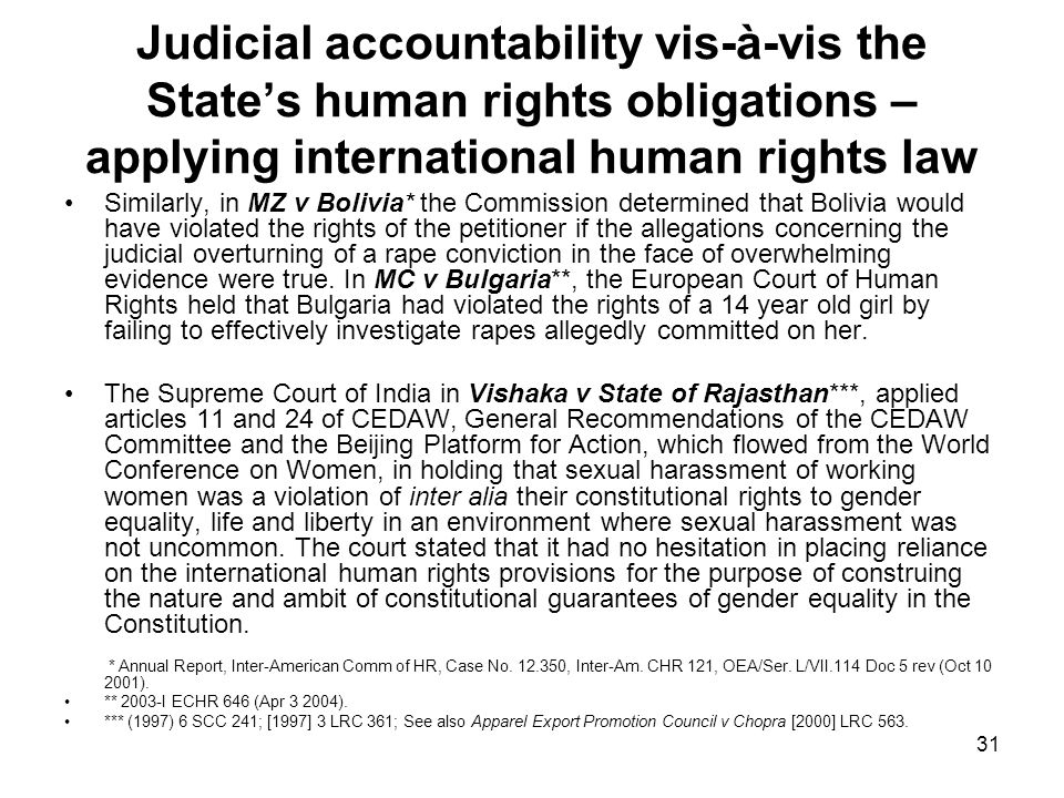 Judicial accountability vis-à-vis the State's human rights obligations – applying international human rights law