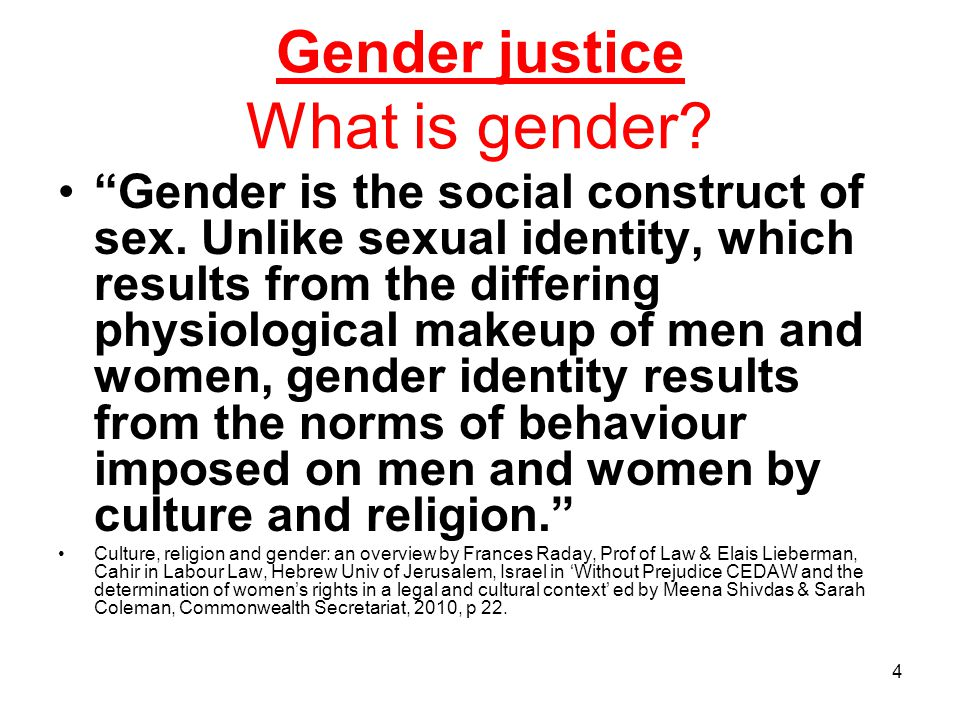 Gender justice What is gender